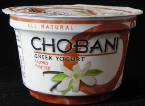 Chobani Greek Yogurt, vanilla flavor