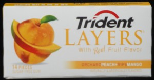Trident Layers Chewing gum, Orchard Peach & Ripe Mango