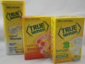 True Lemon® un-sweetend, lemonade and raspberry lemonade, flavor review